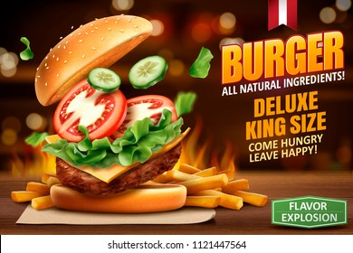 Deluxe king size burger ads with tasty toppings on bokeh background in 3d illustration, fire effect behind the meal