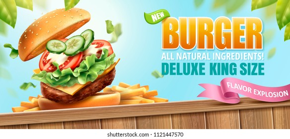 Deluxe king size burger ads with tasty toppings and french fries on nature outdoor background in 3d illustration
