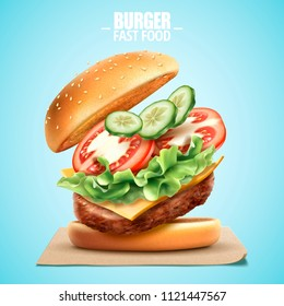 Deluxe king size burger with tasty toppings in 3d illustration, fast food design element on blue background