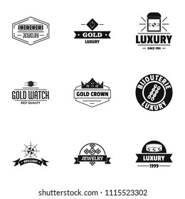 Deluxe logo set. Simple set of 9 deluxe vector logo for web isolated on white background