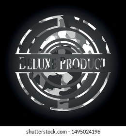 Deluxe Product written on a grey camouflage texture