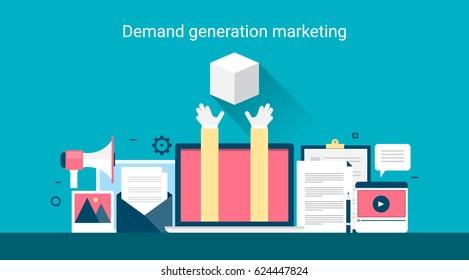 Demand generation marketing, target marketing program, customer needs flat vector concept banner