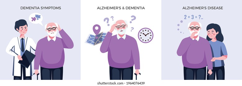 Dementia alzheimer design concept with square compositions of text and characters of elderly man and doctor vector illustration