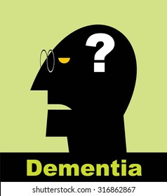 Dementia. Alzheimer. Head and question mark. Mental health symbol conceptual design. Side profile of a human face with the question mark inside as a symbol for neurology and dementia or memory loss.