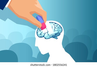 Dementia and memory loss concept. Vector of a hand erasing part of the human brain of a man