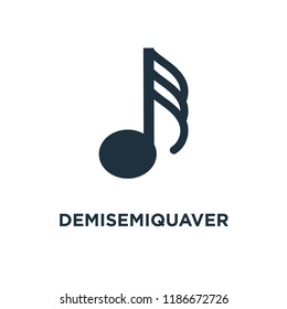 Demisemiquaver icon. Black filled vector illustration. Demisemiquaver symbol on white background. Can be used in web and mobile.