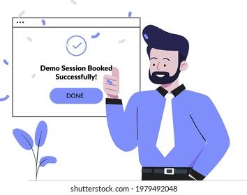 Demo booked successfully concept flat design illustration