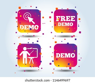 Demo with cursor icon. Presentation billboard sign. Man standing with pointer symbol. Colour gradient square buttons. Flat design concept. Vector
