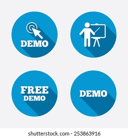 Demo with cursor icon. Presentation billboard sign. Man standing with pointer symbol. Circle concept web buttons. Vector