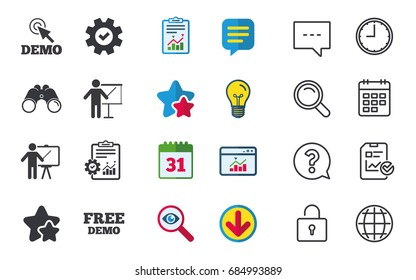 Demo with cursor icon. Presentation billboard sign. Man standing with pointer symbol. Chat, Report and Calendar signs. Stars, Statistics and Download icons. Question, Clock and Globe. Vector