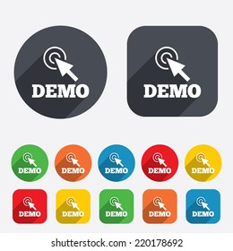 Demo with cursor sign icon. Demonstration symbol. Circles and rounded squares 12 buttons. Vector