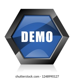 Demo dark blue glossy hexagon geometric diamond vector web icon with reflection on white background. Modern design hexagonal internet button.