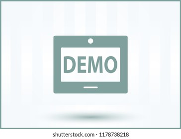 demo icon isolated on green background for your web, mobile and app design, demo icon concept