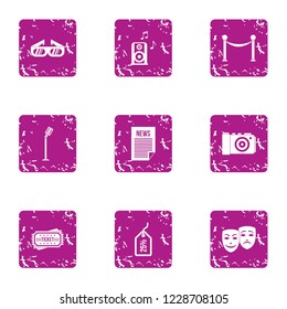 Demo icons set. Grunge set of 9 demo vector icons for web isolated on white background