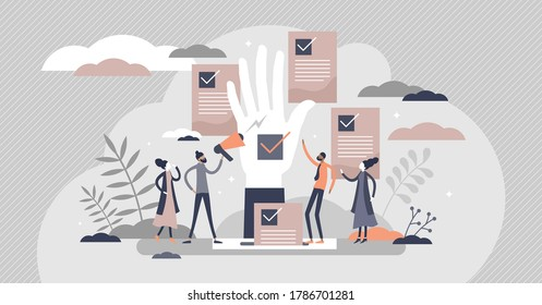 Democracy as government form with speech freedom flat tiny persons concept. Society opinion diversity ideology and decision making with vote and referendum option for fair result vector illustration.