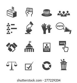 democracy icons, mono vector symbols
