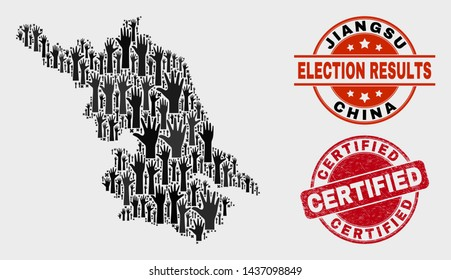 Democracy Jiangsu Province map and seal stamps. Red round Certified distress seal stamp. Black Jiangsu Province map mosaic of upwards voting arms. Vector combination for referendum results,