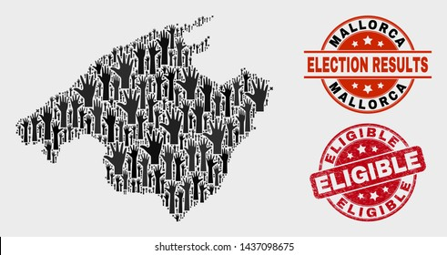 Democracy Mallorca map and seal stamps. Red round Eligible scratched seal. Black Mallorca map mosaic of raised support hands. Vector collage for ballot results, with Eligible seal stamp.