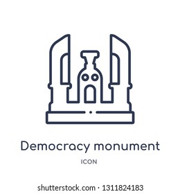 democracy monument icon from monuments outline collection. Thin line democracy monument icon isolated on white background.