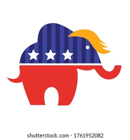 Democracy Symbol Coloured Vector. Logo of elephant isolated on white. Republican Party, republicans. Donald Trump haircut