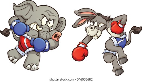 Democrat cartoon donkey and republican elephant throwing a punch. Vector clip art illustration with simple gradients. Each on a separate layer.
