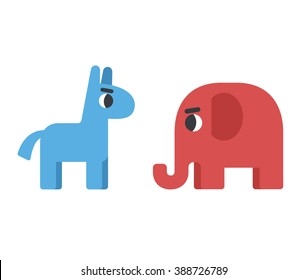Democrat donkey and republican elephant. Political elections illustration. Blue donkey for democrats and red elephant for republicans. Conservative elephant and liberal donkey.