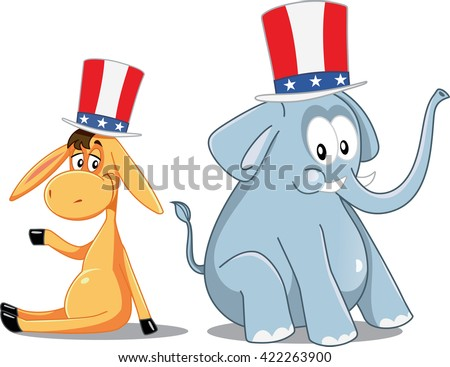 Democrat Donkey and Republican Elephant Vector Election Cartoon - Illustration of two cute animals with patriotic hats
