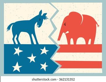 democrat donkey versus republican elephant political illustration