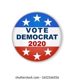Democrat USA election 2020 design. 2020 United States of America presidential election button design. Patriotic stars and stripes theme.