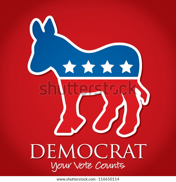 """Democrat Your Vote Counts"" election card/poster in vector format."
