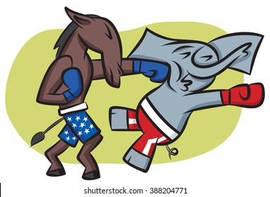 The Democratic donkey getting his shots in