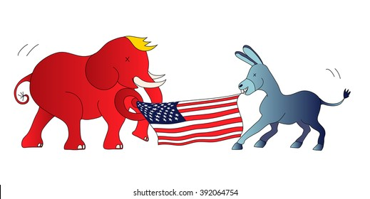 The Democratic donkey vs the Republican elephant