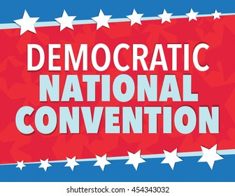 Democratic National Convention, red, white, and blue poster with stars