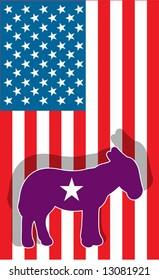 Democratic party symbol donkey against USA flag