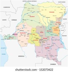 Congo Democratic Republic Political Map Capital Stock Vector