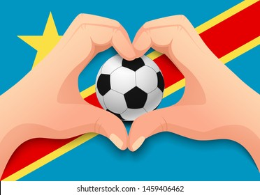 Democratic Republic of the Congo flag and hand heart shape. National football background. Soccer ball with flag of Democratic Republic of the Congo vector illustration