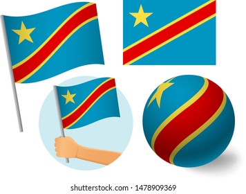 Democratic Republic of the Congo flag icon set. National flag of Democratic Republic of the Congo vector illustration