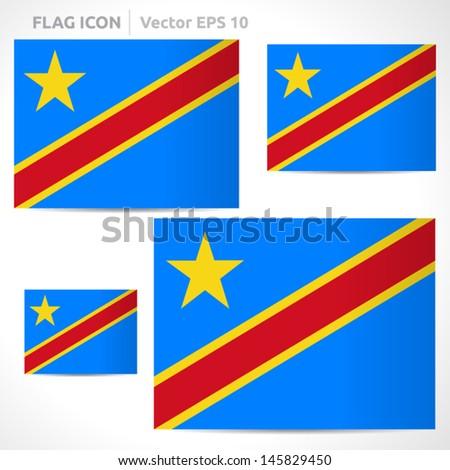 Democratic Republic Congo Flag Template Vector Stock Vector Royalty