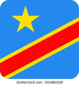 Democratic Republic of the Congo Flag Vector Square Flat Icon - Illustration