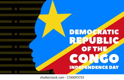 Democratic Republic of the Congo Independence Day is a national holiday, which is celebrated to commemorate the country's liberation from Belgium in 1960. June 30. Poster, banner design. Vector EPS10.