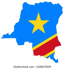 Democratic Republic of The Congo Map And Democratic Republic of The Congo Flag Vector