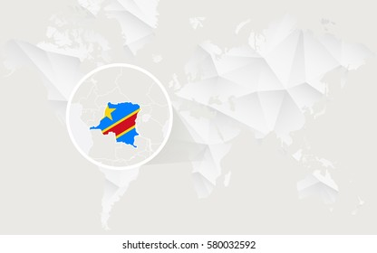 Democratic Republic of the Congo map with flag in contour on white polygonal World Map. Vector Illustration.