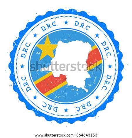 Democratic Republic Congo Map Flag Vintage Stock Vector (Royalty ...