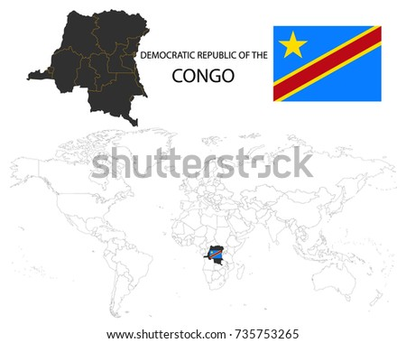 Democratic Republic Congo Map On World Stock Vector Royalty Free