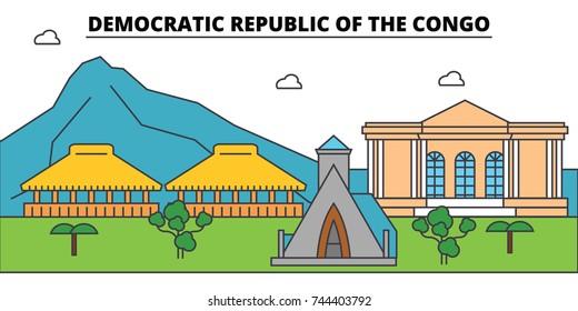 Democratic Republic Of The Congo outline city skyline, linear illustration, banner, travel landmark, buildings silhouette,vector