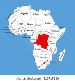 Democratic Republic Congo Vector Map Isolated Stock Vector (Royalty ...
