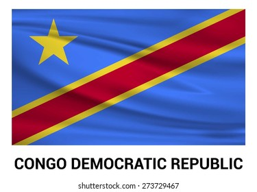Democratic Republic of the Congo Waving flag isolated vector in official colors and Proportion Correctly. waving wind Flag realistic fabric effect. country's name label in bottom