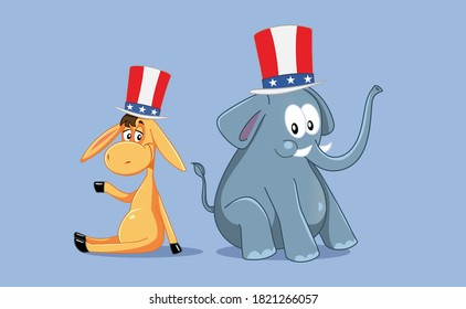 Democratic and Republican Mascots for American Elections. Illustration of two cute animals with patriotic hats
