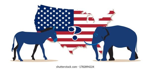 Democratic and republican party mascots, elephant and donkey animals stand at USA map, flag background. Question mark for presidential election winner, voting results, american decision. Vector banner