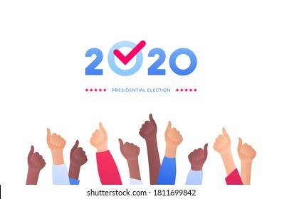 Democratic vote and election day concept. Vetcor flat illustration. Group of multiethnic human hands with 2020 text and checkmark. Design for campaign banner, web, infographic.